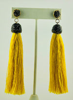 Aria Yellow Tassel Crystal Drop Earrings