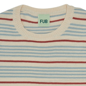FUB Striped T-shirt ecru/dusty blue