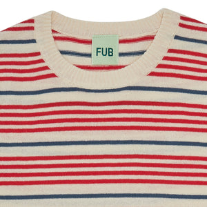 FUB Striped T-shirt ecru/red