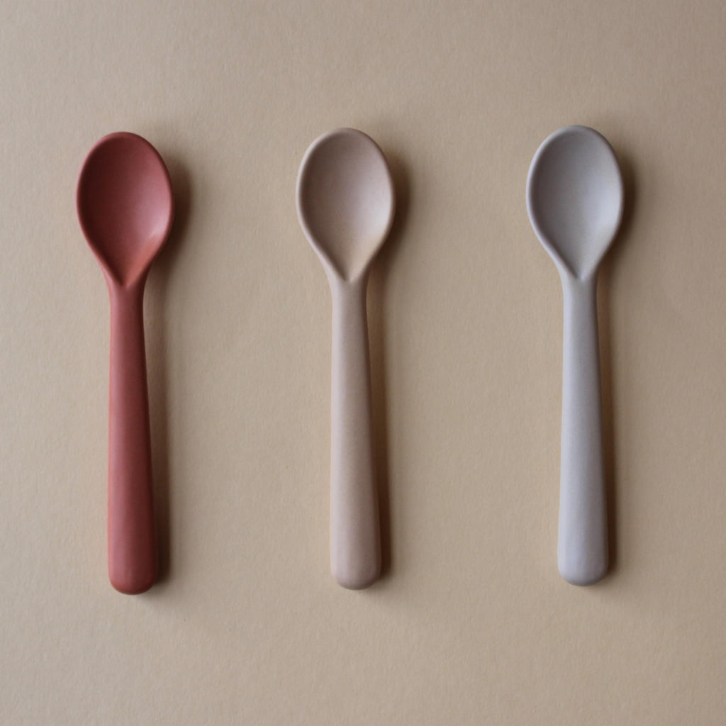 Cink Bamboo Toddler Spoon 3 pack, Fog/Rye/Brick