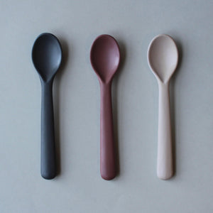 Cink Bamboo Toddler Spoon 3 pack, Fog/Beet/Ocean