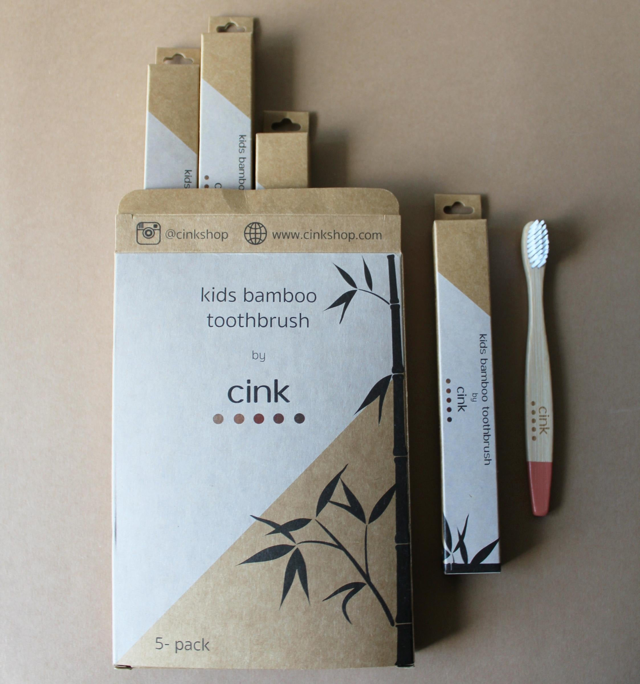 Cink Bamboo toothbrush for kids 5-pack
