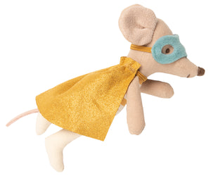 Maileg Superhero Mouse, Litter Brother in Suitcase