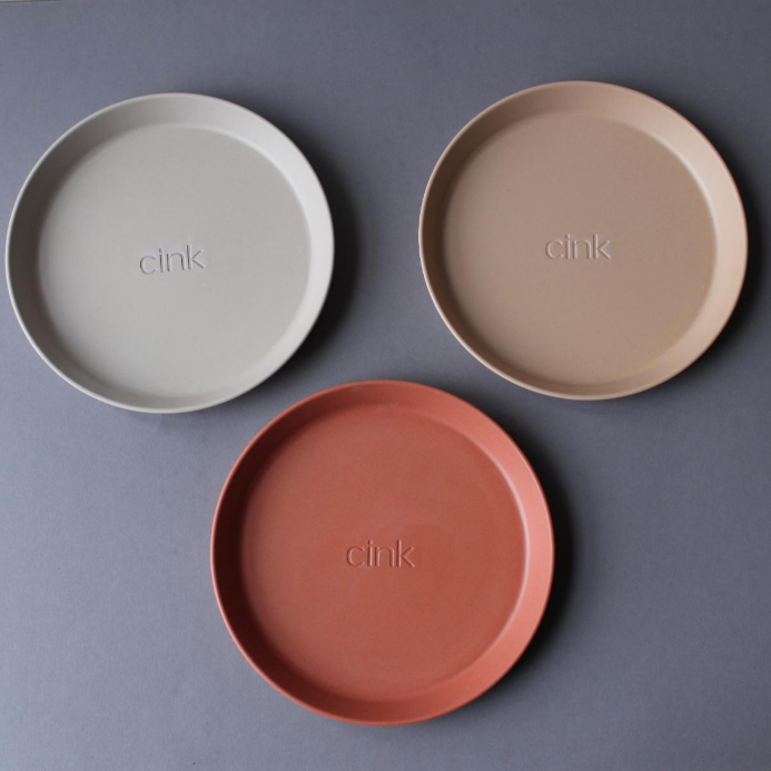 "Cink Bamboo Plate ""Fog/Rye/Brick"" set of 3"