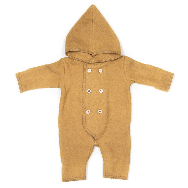 Huttelihut Elf Babysuit Cotton Fleece Ocre