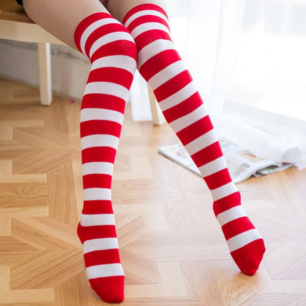 Creepy Cute Bloody Doll Pastel Goth Striped Stockings