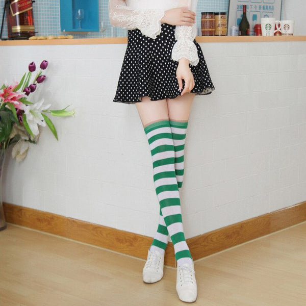 Dorothy Green Pastel Goth Striped Stockings