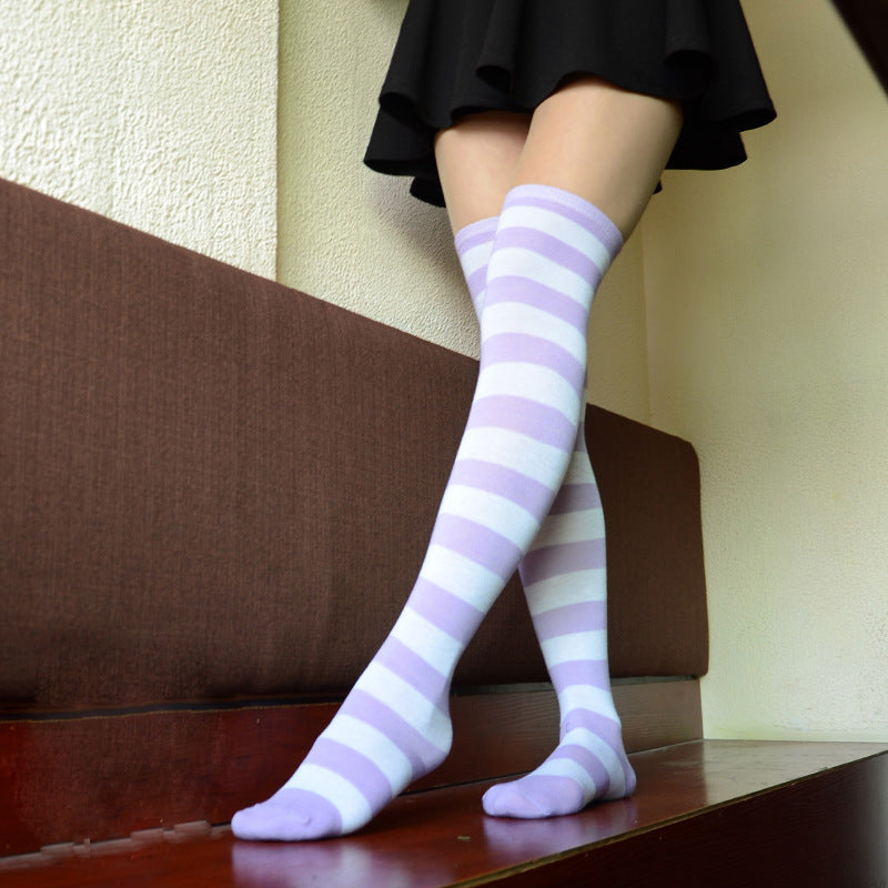 Dorothy Lilac Pastel Goth Striped Stockings