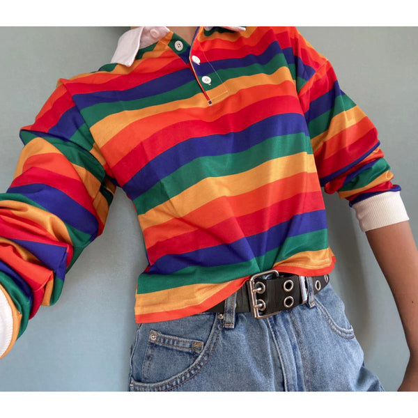 Magic Rainbow Pastel Goth Striped Shirt