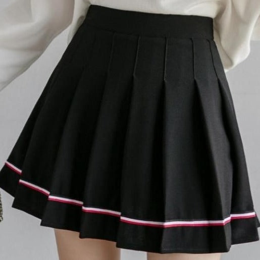 Mon Petit Pastel Goth Black Pleated Mini Skirt