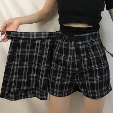 Shirley Black Pastel Goth Pleated Plaid Mini Skirt