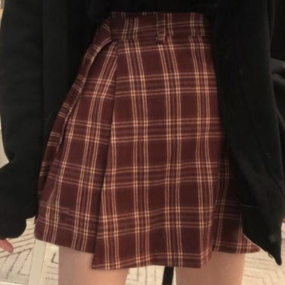 Shirley Passion Pastel Goth Pleated Plaid Mini Skirt
