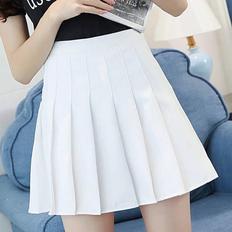 Sophy White Pastel Goth Pleated Mini Skirt