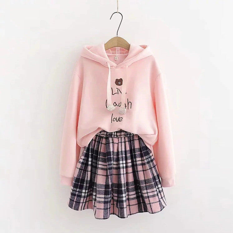 Sweet Kaori Pastel Goth Hooded Sweatshirt & Plaid Pleated Skirts Set