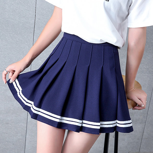 Lindsay Navy Blue Pastel Goth Pleated Mini Skirt