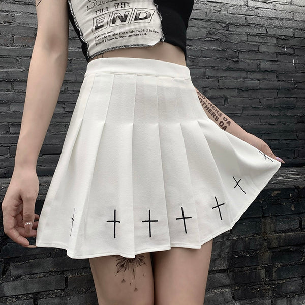 Sacred Light Crosses Pastel Goth Print Pleated Mini Skirt