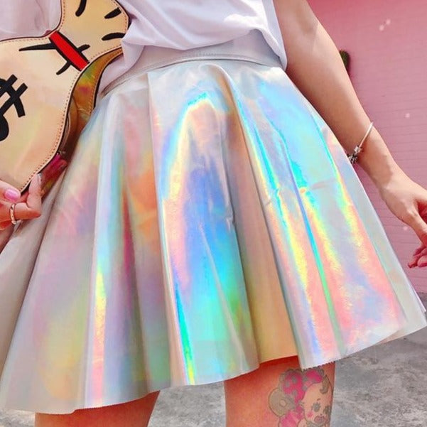 Holographic Cosmic Princess Pastel Goth Skirt