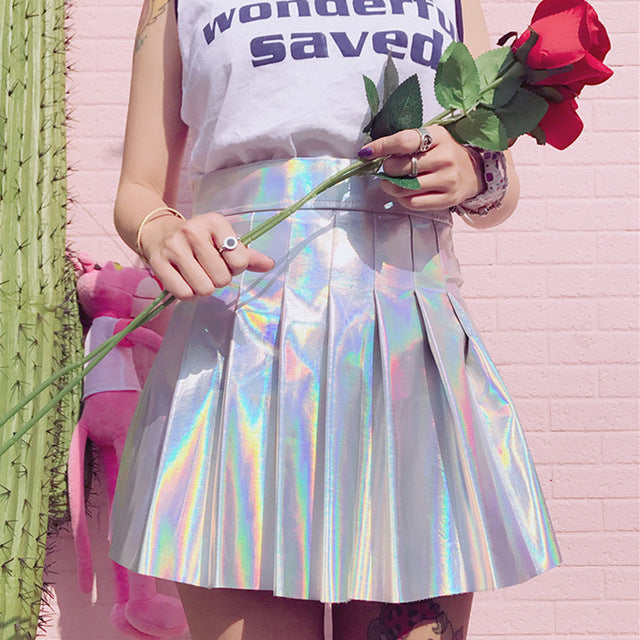 Holographic Cosmic Girl Pastel Goth Skirt