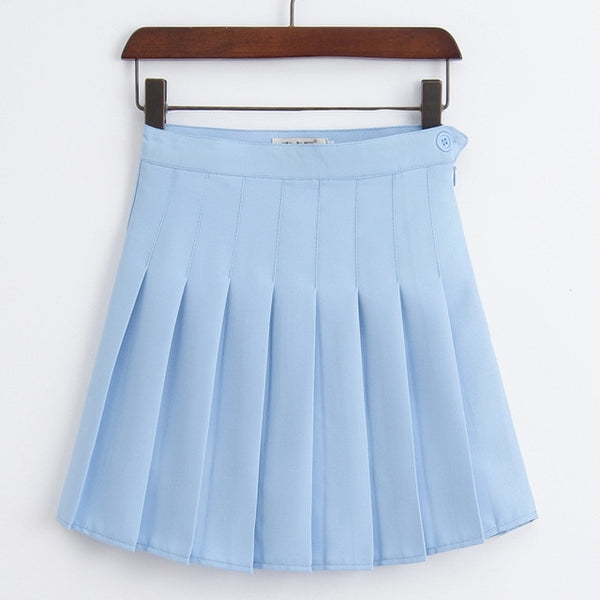 Sophy Sky Blue Pastel Goth Pleated Mini Skirt