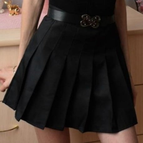 Sophy Black Pastel Goth Pleated Mini Skirt