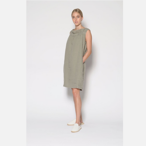 Linen Dress With Pockets- Khaki