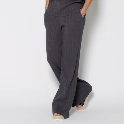 Ribbed Wide Leg Lounge Pant- Charcoal Gray
