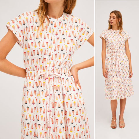 Shirt dress with seamless cap sleeves and ice cream print