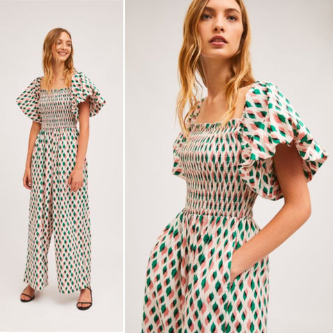 Long bow-tie print smock jumpsuit