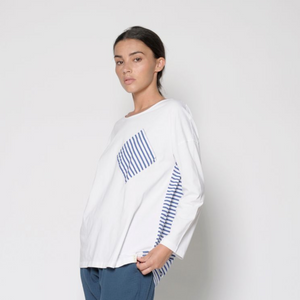 White & Stripe Jersey Top