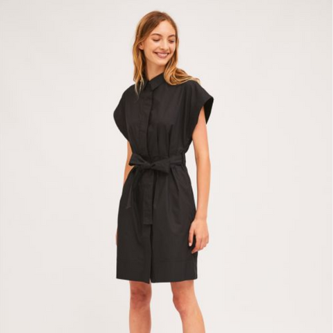 Black shirt dress with seamless cap sleeves