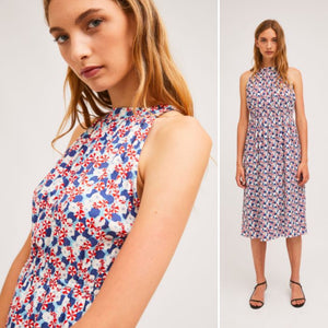 Petunia Print Midi Halter Neck Dress