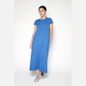 Slubbed T-Shirt Dress- Bright Blue