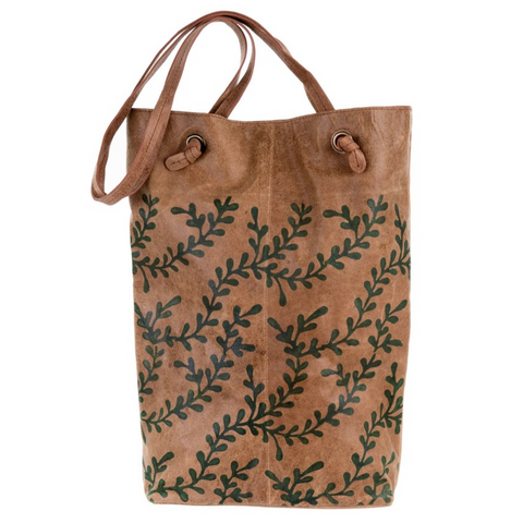 Wood Block Print Leather Tote, Vine Print