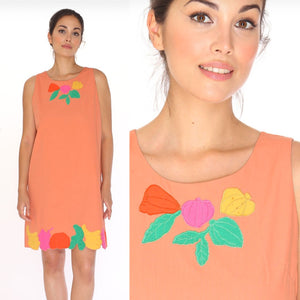 Fruit Patches Dress- Peach