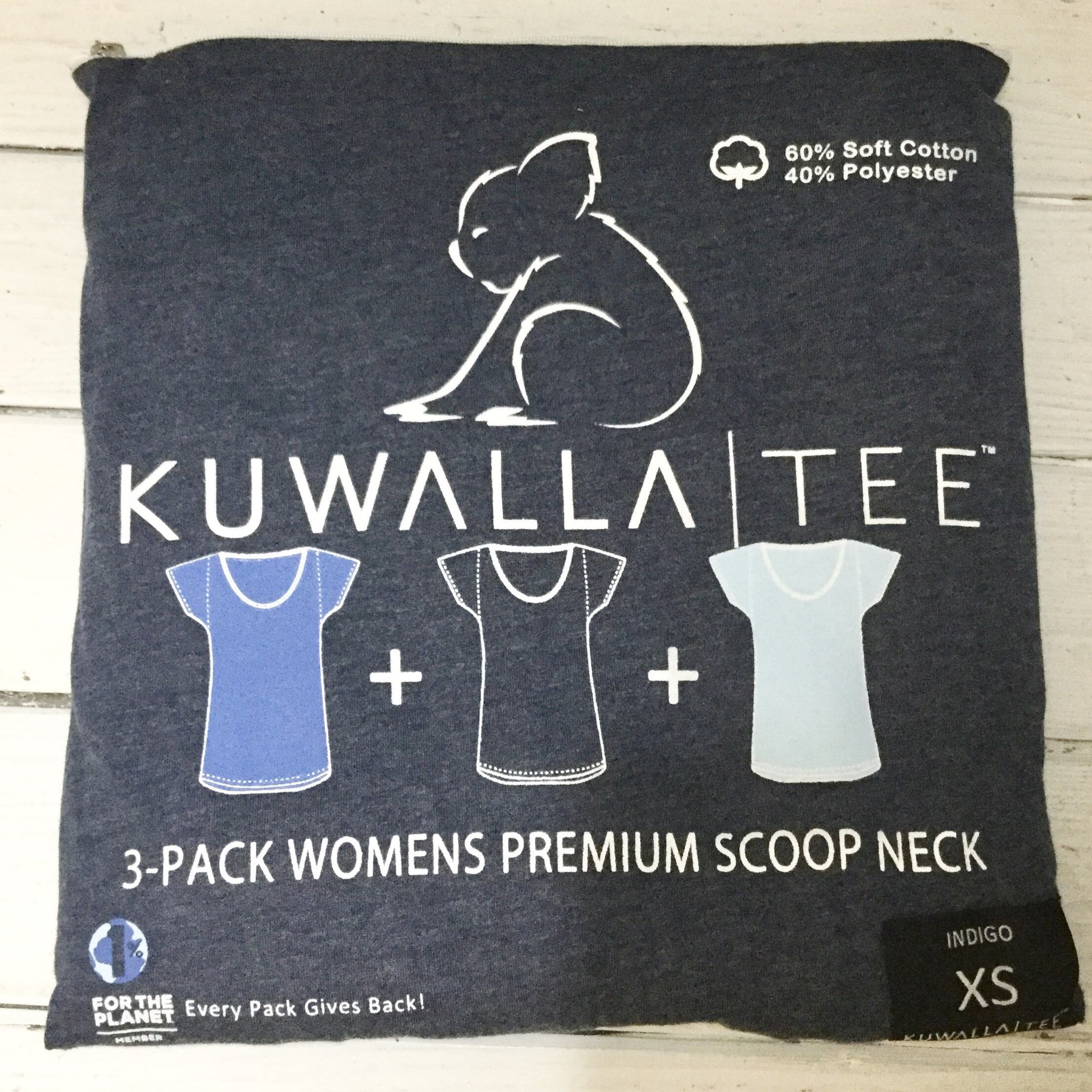 3 Pack Tees- Scoop Neck, Indigo