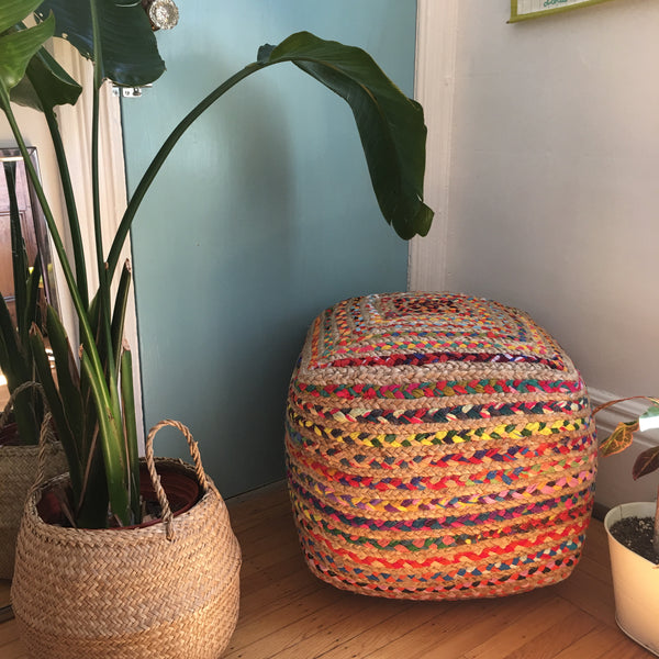 Cube Foot Stool, Braided
