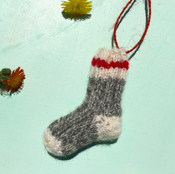 Mini Hand Knit Sock Ornament