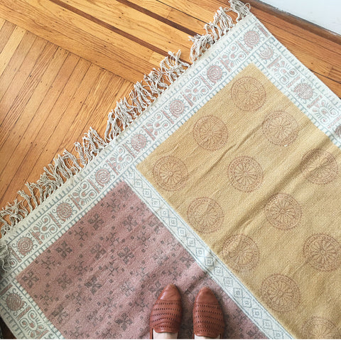 Cotton Block Print Rug 4X6'