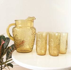 Vintage Raised Glass Daisy Pitcher, Golden Yellow