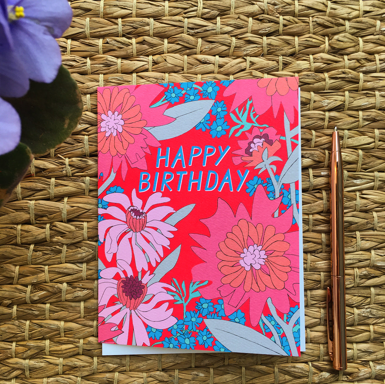 Greeting Card- Happy Birthday, Pink Floral