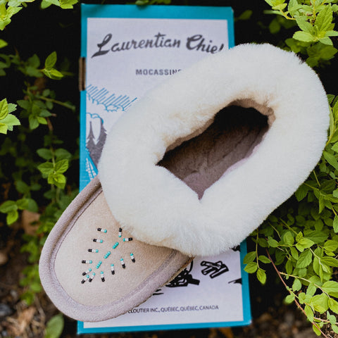 Sheepskin Trim Slipper, Grey Beaded