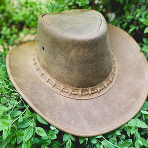 Buffalo Leather Hat, Light Brown