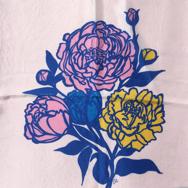 Silk scarf, Love Peonies, Ashley Eady