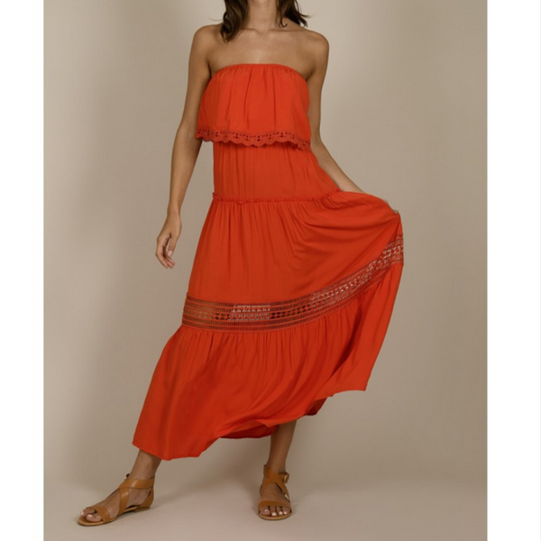 Ladies Woven Dress, Red Coral