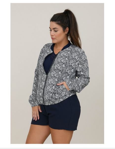 Ladies Woven Jacket, Navy Petals