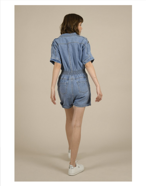 Young Ladies Woven Playsuit Denim