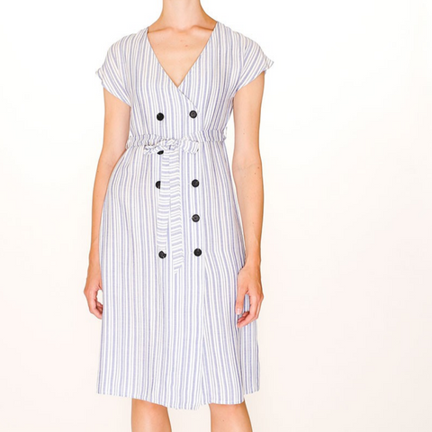 Dress, Button Stipes