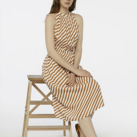 Brown & White Stripe Dress
