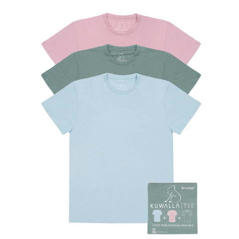 3 Pack Crew Neck, Sage/Pink/Blue