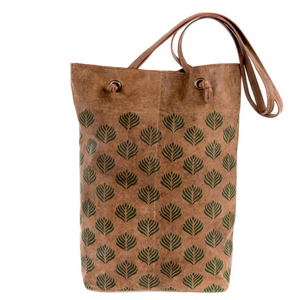 Wood Block Print Leather Tote, Leaf Print